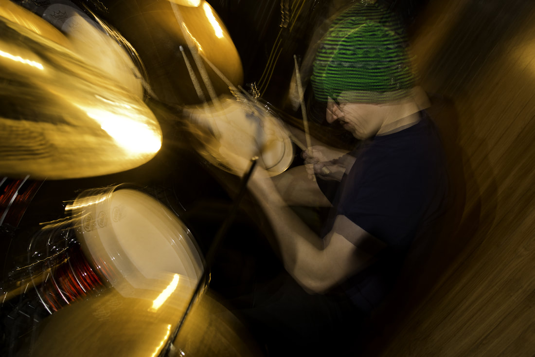 Eric the drummer practicing. Shot with Nikon SB900 speedlights in stroboscopic mode